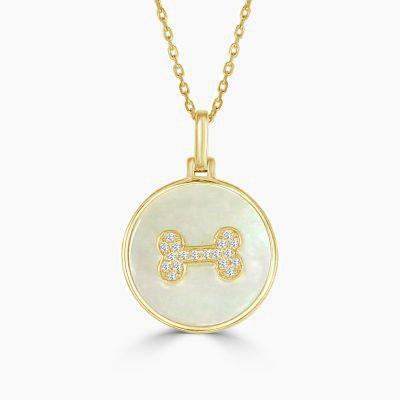 Frederic Sage Pearl Diamond Dog Bone Necklace