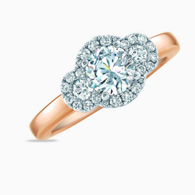 Frederic Sage Three Stone Halo Engagement Ring