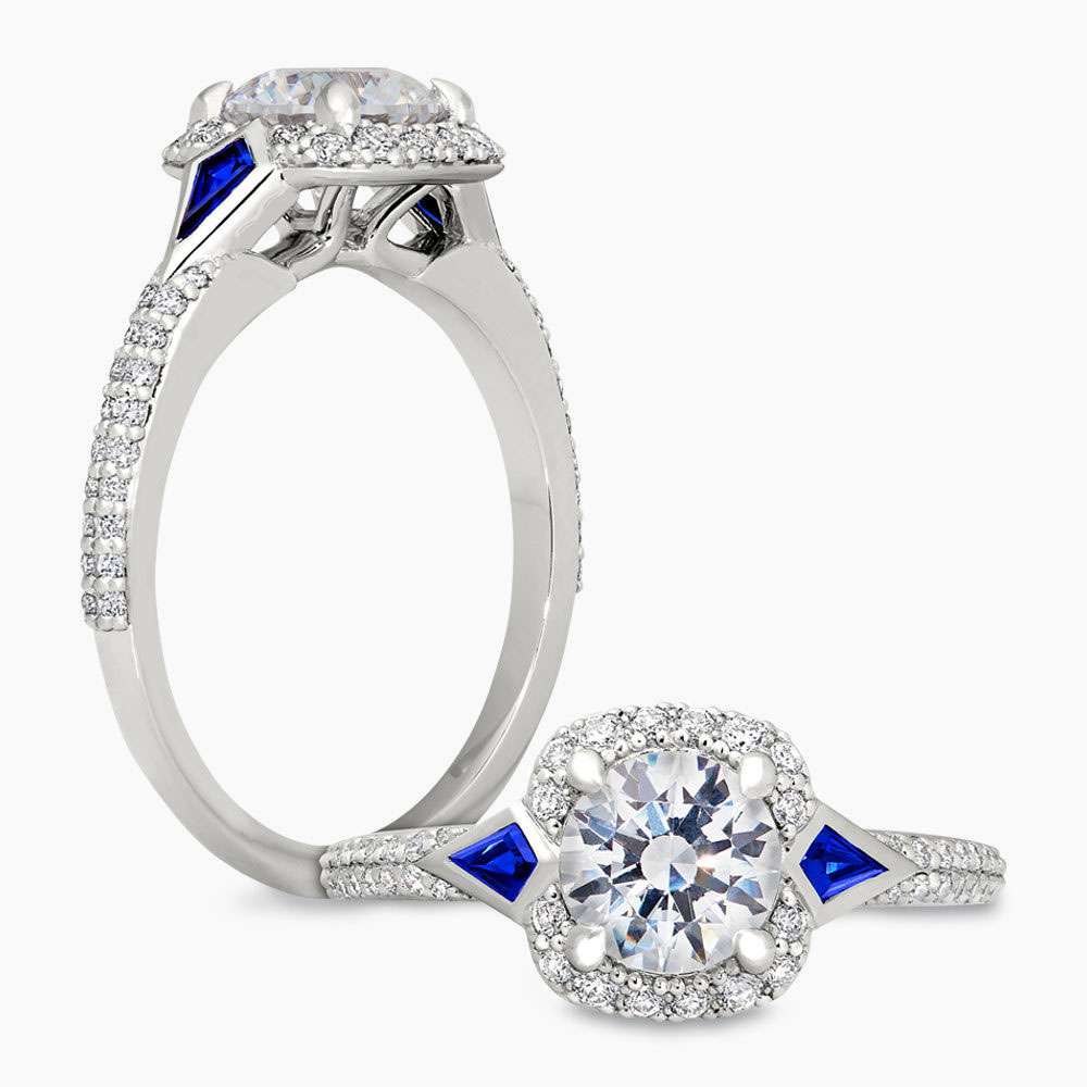 Peter Storm Sapphire Halo Diamond Ring