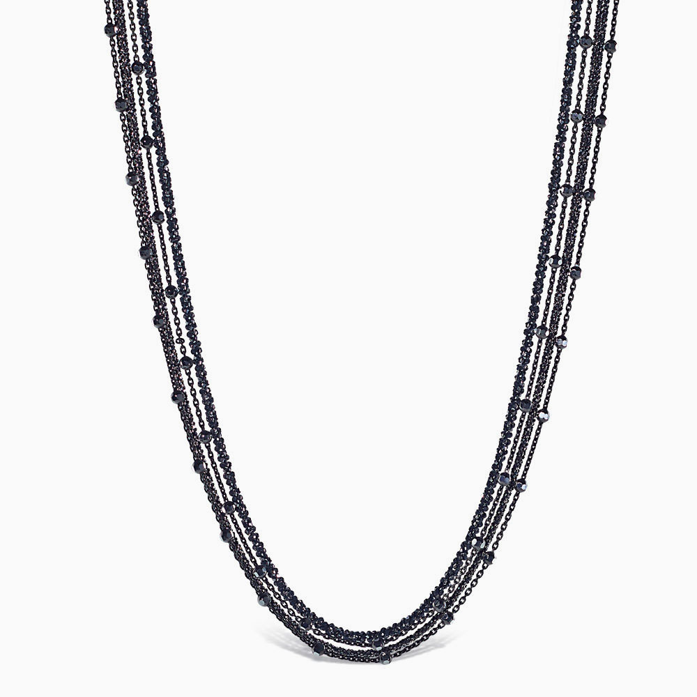 Peter Storm smoke faceted silver chain necklace