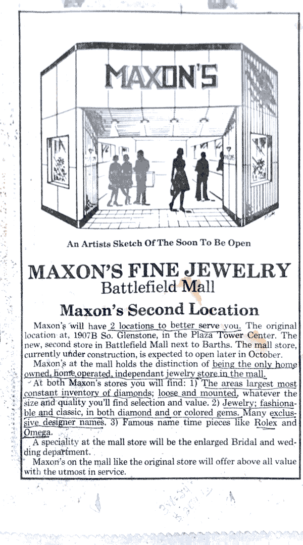 Maxon's Fine Jewelry Battlefield Mall advertisement