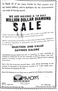 Million Dollar Diamond Sale advertisement