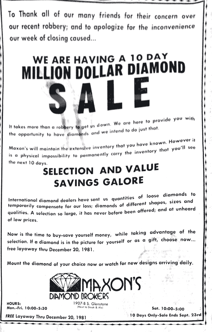 Million Dollar Diamond Sale advertisement
