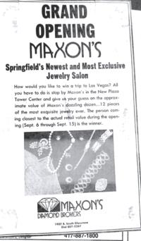 Maxon's Grand Opening advertisement