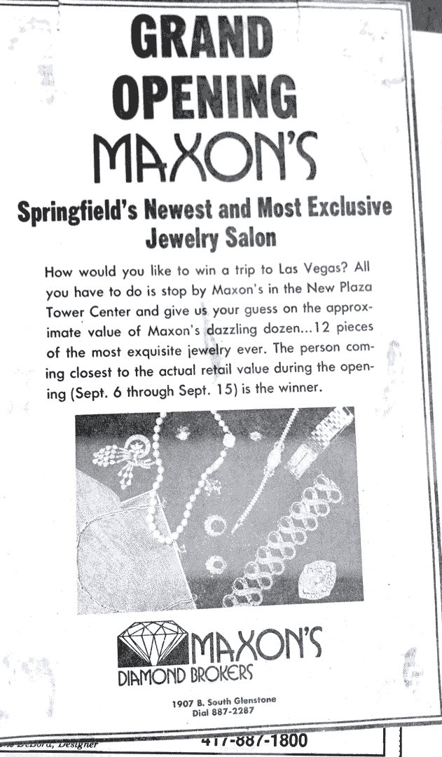 Maxon's Grand Opening advertisement