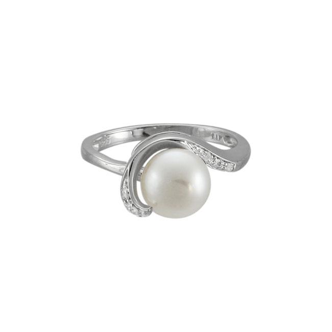 freshwater pearl white gold swirl diamond ring