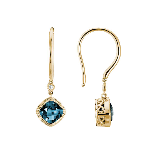 gold french wire blue topaz diamond earrings