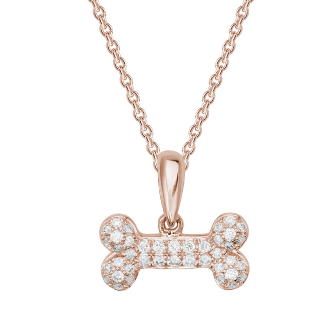 rose gold diamond dog bone necklace