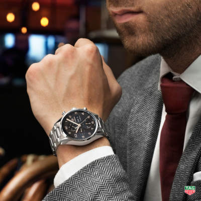 Men's silver Tag Heuer wristwatch