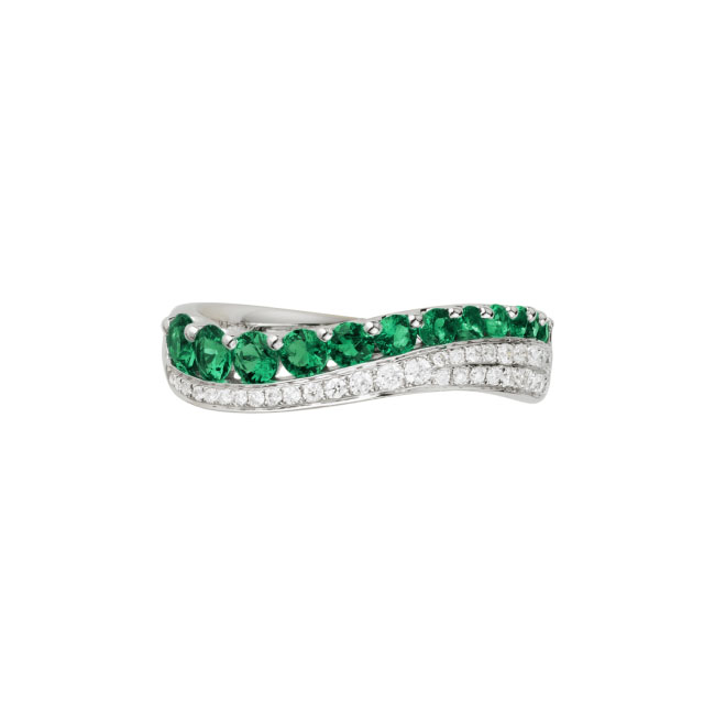 white gold diamond emerald wave ring