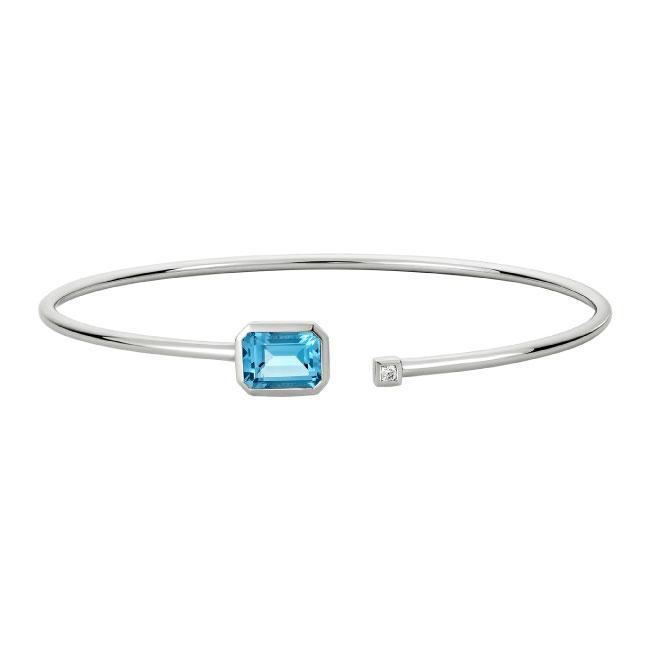 white gold flex bangle bracelet emerald cut blue topaz