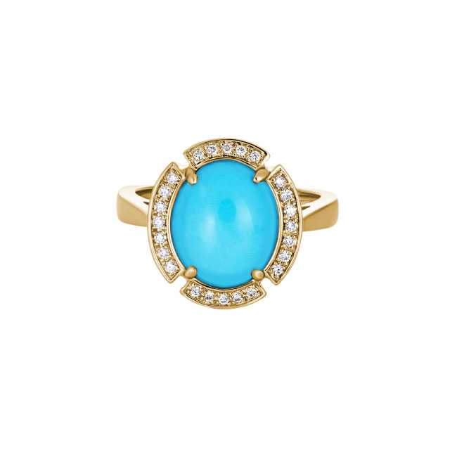 yellow gold ocal turquoise diamond ring